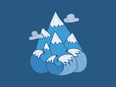 Mountain Water color mount cloud blu blue ocean water mountain design adventure logo vector pulcedesign illustration