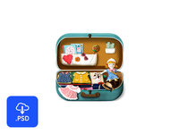 French suitcase icon - free psd