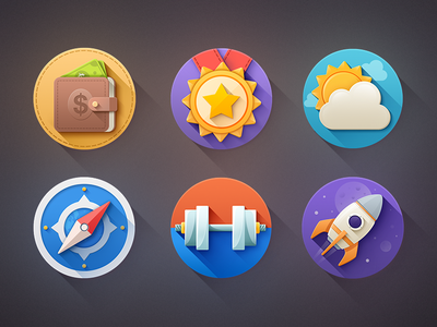 "Kinda ""Flat"" Icons - free psd! flat icons safari cash dollar free rocket weather flat icons icon set free icons weather icon"
