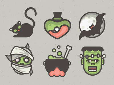 Halloween Icon Pack! 10 vector icons halloween scary black cat mummy love potion orio night bat halloween icons vector icons frankenstein difiz