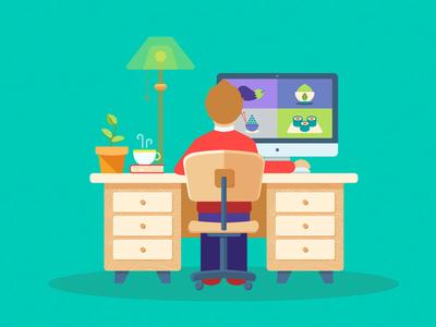 Workaholic illustration for difiz.com mouse chair book coffee lamp imac workspace work difiz