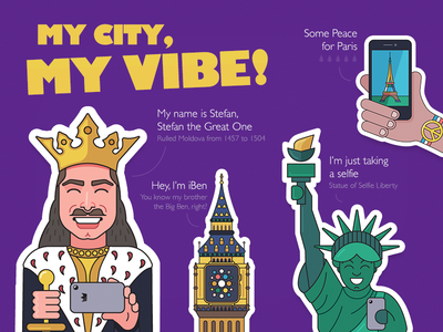 My city, my vibe - stickers for Viber. paris iwatch iclock iben statue of liberty new york chisinau moldova viber