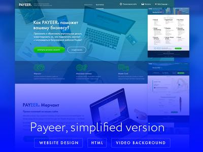 Payeer - simplified landing page hero bg macbook imac contact page exchange money icons flat website payeer