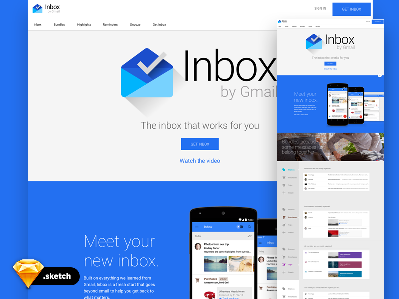 Google Inbox UI - free sketch template lesson psd free template ui sketch inbox google