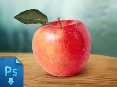 Apple - free psd apple free free psd fruit apple psd illustration red apple water drops freebie difiz syoma syoma muntean