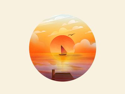 Sunset Sail  sails dock sun sunset sea water boat
