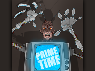 Welcome to Prime Time, B*tch! houston artist houston procreate art drawing digital art illustration lowbrow 80s horror nightmare television primetime chuck russell wes craven robert englund freddy freddy krueger dream warriors nightmare on elm street