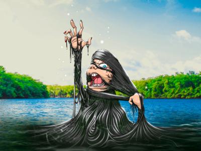 The Raft | Creepshow 2 procreate houston art illustration. drawing digital art creepy spooky lowbrow horror 80s horror wet quarantober slime ooze lake blob the raft raft creepshow 2 creepshow