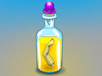 The Bottle procreate houston houston artist art drawing illustration digital art horror weird spooky lowbrow quarantober yellow severed body parts finger glass bottle glass bottle