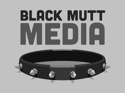 Black Mutt Media Logo logo dog collar grayscale spikes illustration