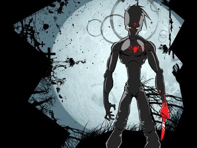 Lunatic illustration evil blood knife horror