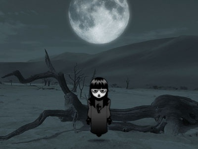 the girl in the desert illustration girl desert ghost moon horror
