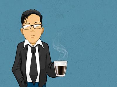 Self Portrait illustration portrait coffee tie glasses