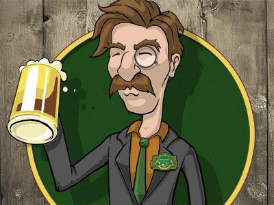 Mug Club Seal beer moustache logo seal illustration