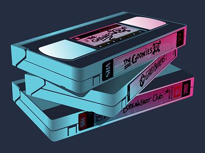 VHS Saturday Playlist vaporwave retrowave breakfast club ghostbusters goonies cassette 80s vhs