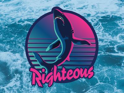 Totally Righteous Shark aesthetic vaporwave outrun retrowave sunset sun 1980s righteous ocean shark retro 80s