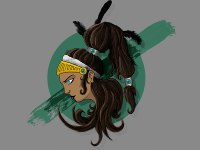 Native Girl illustration native american feathers hair