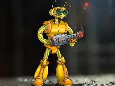 B.O.B yellow illustration alien robot video game art videogameart video game videogame nintendo space funky bob bob snes
