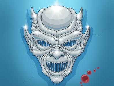 Nostradamus's Demon Mask 1985 demoni horror illustration 80s horror movie horror art argento demons demon