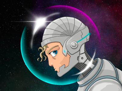 The Cybernaut | a digital drawing illustration digital art drawing scifi art scifi space art nasa space helmet space suit space astronaut cyberpunk the cybernaut  cybernaut