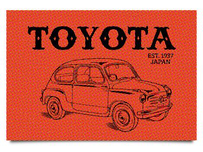 Retro 1950s toyota identity halftone weekly challenge dribbbleweeklywarmup design