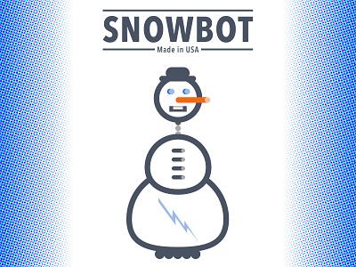 Snowbot illustration snowman robot weekly challenge halftone dribbbleweeklywarmup