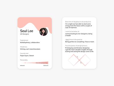 Little About Me leeseul ux design about intro trading card card clean print design design ui