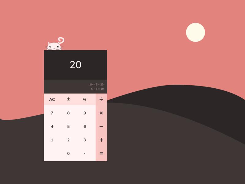 Calculator kitty illustration ui design uidesign uichallenge ui dailyuichallenge dailyui 004 dailyui calculator