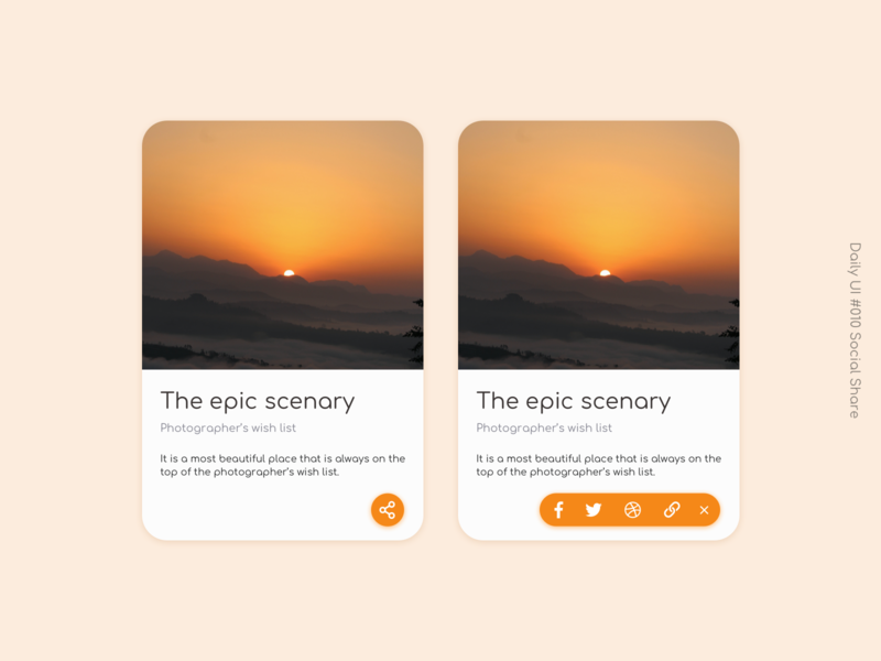 Social Share colored shadow card design dailyuichallenge dailyui 010 social share design leeseul ui
