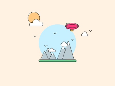 Magic Blimp Ride summer illustration may sunny birds mountains blimp