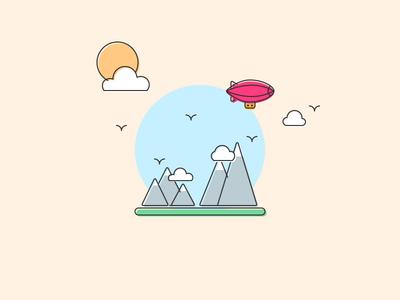Magic Blimp Ride summer illustration may sunny birds mountains blimp