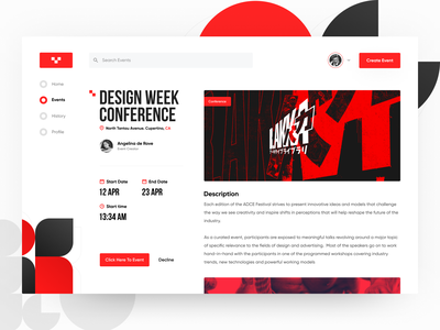 Online Events - Concept red news details page design conference preview event figma concept