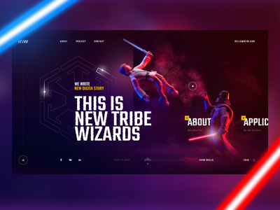 StarWars Edition typography purple neon star wars sketch studia ui home page figma concept web design web