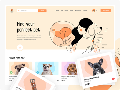 Find your pets website web landign page shop pet care e-comerce doggy petshop ecommerce branding figma home page design web design illustration friend pets dog