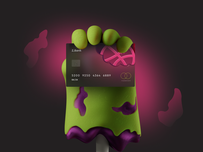 Z Bank zombie illustration web design cards ui cards bank app fintech finance concept design card design bank card banking bank
