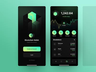 BlockChain walletapp ethereim bitcoin cube banking bank app crypto currency crypto wallet crypto fintech app wallet app figma blockchain wallet