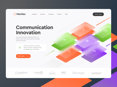 Monlex Communication product innovation home page illustration web design concept cellural phone local network internet connection connect communation