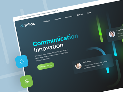 Communication Platform web design figma help chat voice voip message concept landing connect cloud saas cpaas network telephone communication