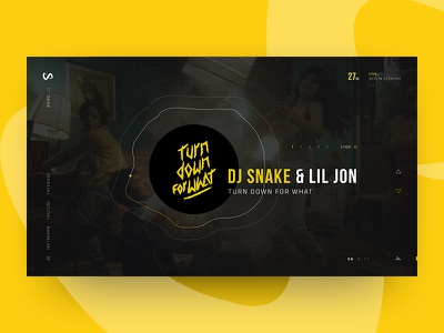 DJ Snake Home Page Concept  yellow home page music web design web ui snake dj concept