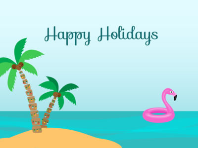 Happy Holidays from Florida palm trees christmas lights merry christmas happy holidays float flamingo water island christmas holidays holiday florida