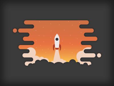 Explore outer space stars smoke space orange explore launch rocket