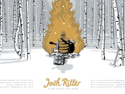 Josh Ritter Winter Warm-Up Tour Poster bonfire tour poster birch josh ritter screen print