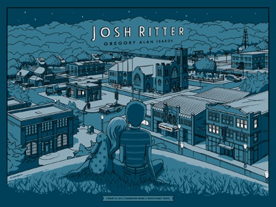Josh Ritter Bloomington, IN Poster screen print josh ritter bloomington indiana poster