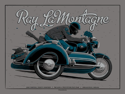 Ray LaMontagne Indianapolis, IN Poster ray lamontagne poster screen print indianapolis indiana motorcycle sidecar