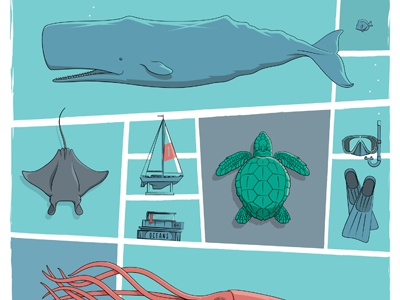 Oceans Art Print whale squid turtle sailboat fish oceans digital canvas