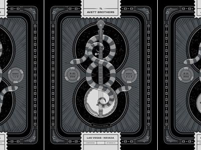 The Avett Brothers Las Vegas, NV Triptych screen print triptych snakes las vegas nevada banjo guitar bass metallics avett gig poster