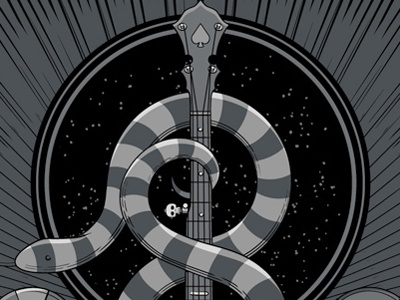 The Avett Brothers Las Vegas, NV Night 2 Poster screen print triptych snakes las vegas nevada banjo metallics avett gig poster
