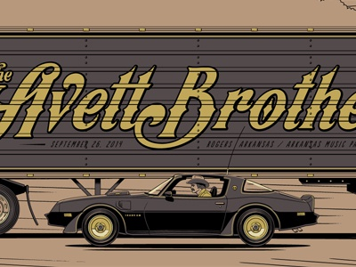 The Avett Brothers Rogers, AR Poster [Bandit] screen print rogers arkansas bandit trans am metallics avett gig poster semi snowman