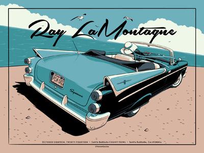 Ray LaMontagne Santa Barbara, CA Poster ray lamontagne santa barbara california pch screen print gig poster