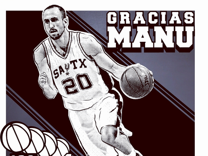 Gracias Manu spurs san antonio typography poster illustration nba basketball manu